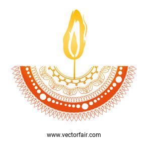 mandala of color red with a orange candle on white background