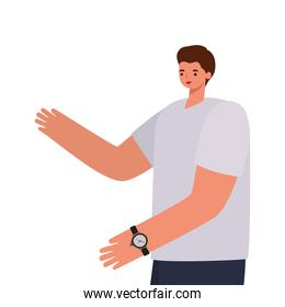 man with brown hair, gray shirt and wristwatch