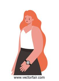 woman with long orange hair on a withe background