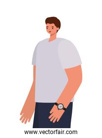 man with brown hair, gray shirt and wristwatch on a withe background