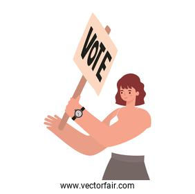 woman with reddish hair, white shirt and vote poster