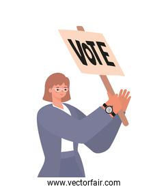 woman with ligth brown hair, purple suit and vote poster