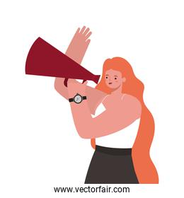woman with long orange hair and megaphone