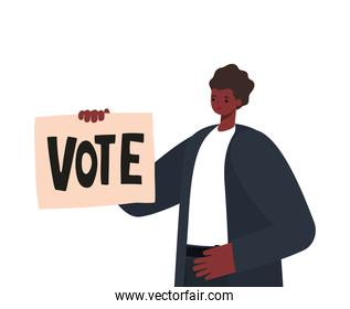 man with black hair, black suit, wristwatch and poster vote