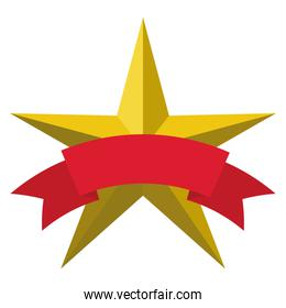 star with yellow color and five points with a ribbon