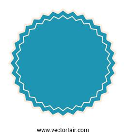 seal stamp of light blue color and one line white
