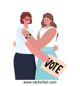 women with a vote poster on a withe background