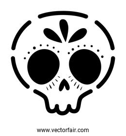 mexican skull icon on white background