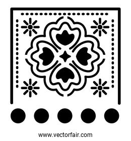mexican clover icon with small suns on white background