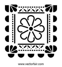 mexican flower icon in square on white background