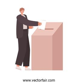 man voting with ligth brown hair and a dark suit