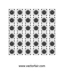 mexican sunflower icons pattern over white background