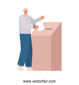 man voting with blonde hair and a gray coat