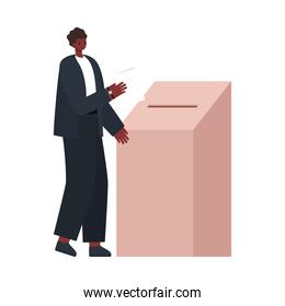 man voting with black hair and black suit