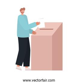 man voting with ligth brown hair and blue coat