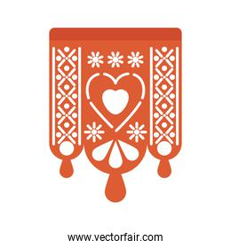 garland of red color with heart on white background