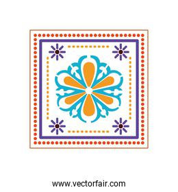 mexican icon of a sunflower with colors in square on white background
