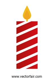 candle with red and white lines icon on white background