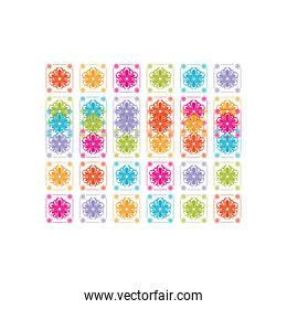 sunflower and sun mexican icons pattern with many colors on a white background