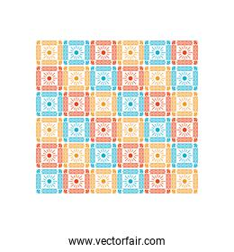 mexican sun icons pattern with colors on white background