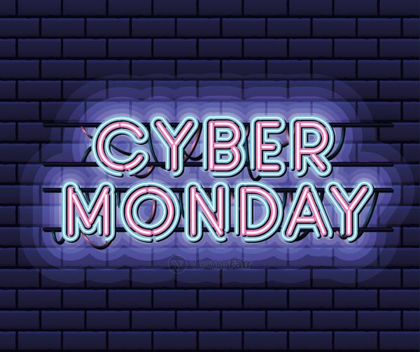 cyber monday lettering in neon font of pink and blue color on dark blue background