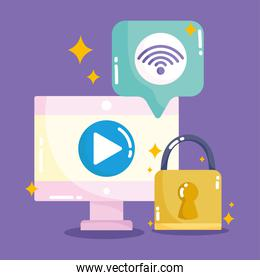 social media, computer content internet security in cartoon style