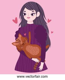 happy young woman with brown cat animal pet cartoon