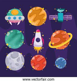 space galaxy astronomy in cartoon style collection icons such as planet ufo rocket