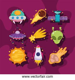 space galaxy astronomy cartoon ufo satellite alien sun with shadow icons
