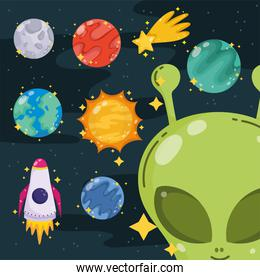alien planet star rocket space galaxy astronomy in cartoon icons