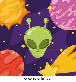alien planet star space galaxy astronomy in cartoon style