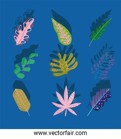 leaves foliage nature decoration abstract shadow blue background icons set