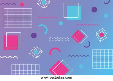 geometric squares abstract design memphis 80s 90s style background