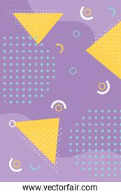memphis form a triangle 80s 90s style abstract purple background