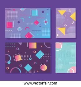 memphis style banner templates collection, 80s 90s with geometric shapes