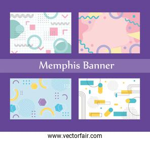 memphis style banner design collection of templates with geometric shapes