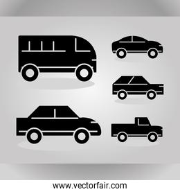 cars transport vehicle side view, set silhouette icons on gray background