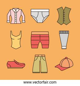 clothing female and male shirt underwear cap and shoe icons line and fill icon