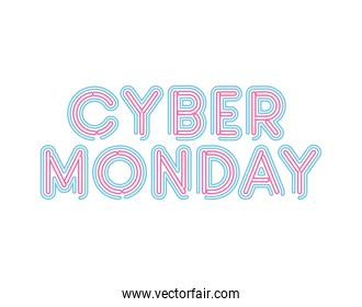 cyber monday lettering in neon font of pink and blue color
