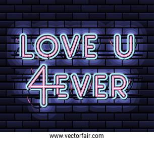 love u 4ever lettering in neon font of pink and blue color on dark blue background