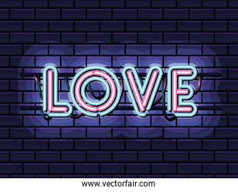 love lettering in neon font of pink and blue color on dark blue background