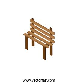 wooden bench park Isometric style icon