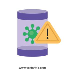 pot with covid19 virus particle and alert signal flat style