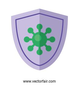 covid19 virus particle in shield flat style