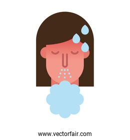 woman with fever sneezing flat style icon