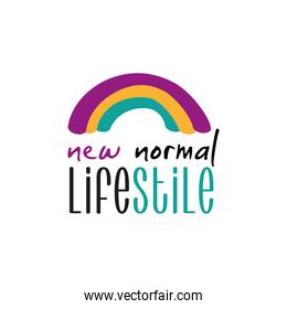 new normal lettering campaign with rainbow hand made flat style