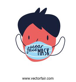 wear your mask lettering campaign with man using face mask flat style