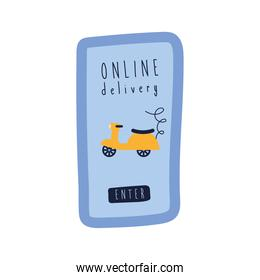 onflat delivery lettering campaign with smartphone and motorcycle flat style