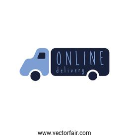 onflat delivery lettering campaign in truck flat style