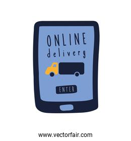 onflat delivery lettering campaign with truck in smartphone flat style